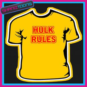 HULK RULES FUNNY MENS SLOGAN SUMMER TSHIRT